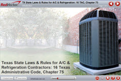 Texas State Laws & Rules for A/C & Refrigeration Contractors: 16 Texas  Administrative Code, Chapter 75