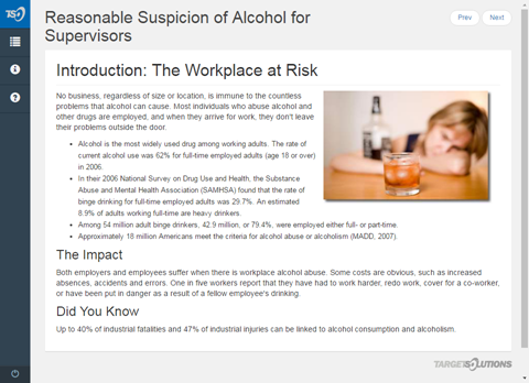 Reasonable Suspicion of Alcohol for Supervisors
